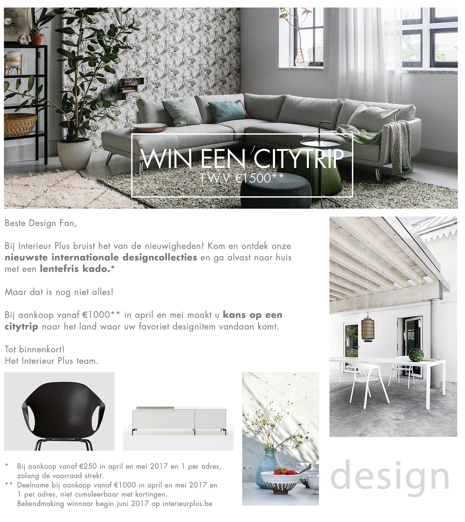 Win een citytrip design meubelen interieur plus for Interieur plus peer